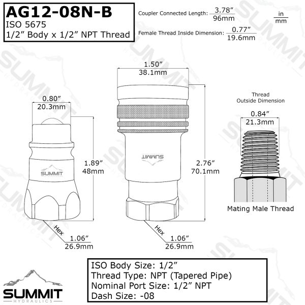 "AG 1/2"" Body 1/2"" SAE Thread ISO 5675 Ball Type"
