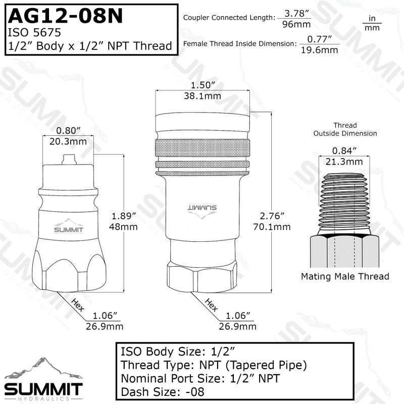 "AG 1/2"" Body 1/2"" NPT Thread ISO 5675"