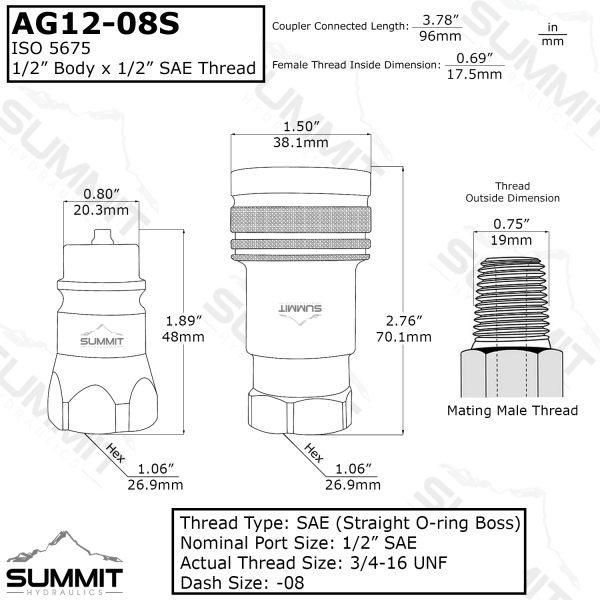 """AG 1/2"""" Body 1/2"""" SAE Thread ISO 5675"""