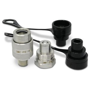 """3/8"""" 10,000 PSI High Pressure Hydraulic Quick Coupler Set with Cap and Plug"""