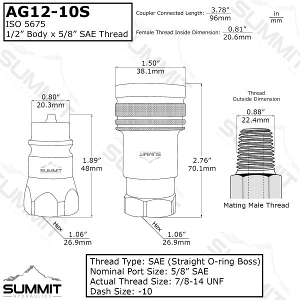 "AG 1/2"" Body 5/8"" NPT Thread ISO 5675"