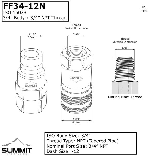 FF34-12N Dimensions