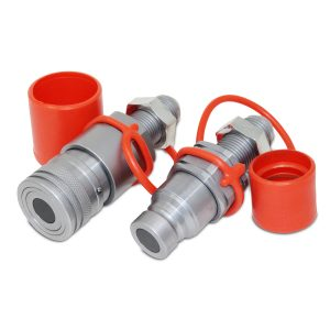 Flat Face Hydraulic Quick Connect Coupler Set, #10 JIC Bulkhead Mount