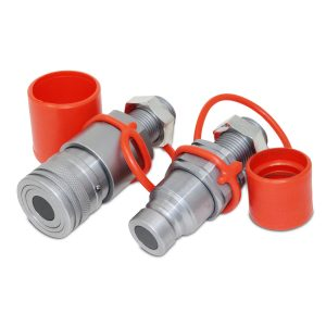 Flat Face Hydraulic Quick Connect Coupler Set, 5/8 ORFS Bulkhead Mount
