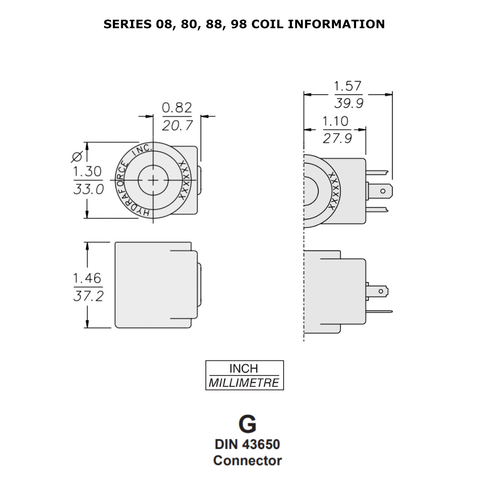 Hydraforce 6306012 Solenoid Valve Coil  3 Prong Din