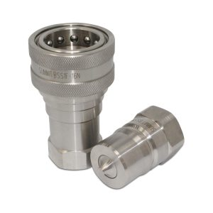 "1"" NPT ISO 7241-B Stainless Steel Quick Disconnect Hydraulic Coupler Set"