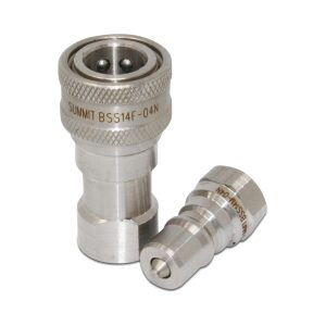 "1/4"" NPT ISO 7241-B Stainless Steel Quick Disconnect Hydraulic Coupler Set"