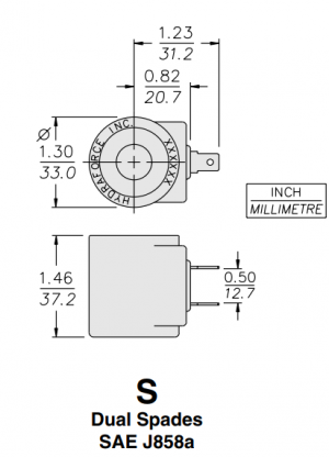 HydraForce 6301012 Solenoid Valve Coil, 2 Spade Connector, 12v DC, 08 Series