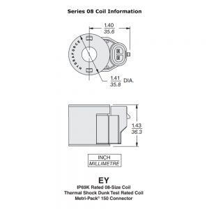 HydraForce 4303412 Solenoid Valve Coil, Metri-Pack 150 Connector, 12v DC, 08 Series