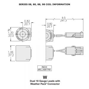 HydraForce 6309412 Solenoid Valve, Weather Pack Connector, 12v DC, 08 Series
