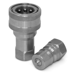 "1/2"" NPT ISO 7241-B Stainless Steel Quick Disconnect Hydraulic Coupler Set"