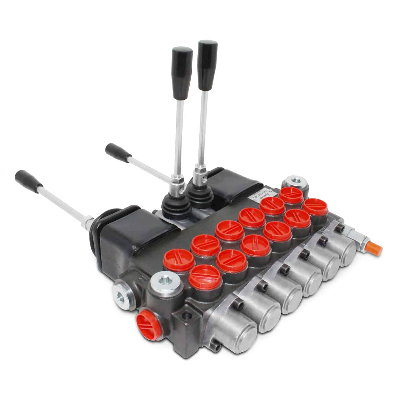 Monoblock Hydraulic Directional Control Valve w/ 2 Joysticks, 6 Spool, 11  GPM