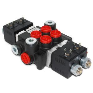 Hydraulic Monoblock Solenoid Control Valve, 2 Spool, 13 GPM, 12V DC