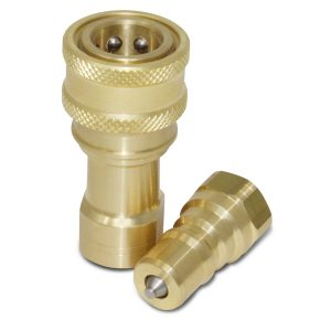 "1/4"" NPT ISO 7241-B Brass With Stainless Valve Quick Disconnect Hydraulic Coupler Set"