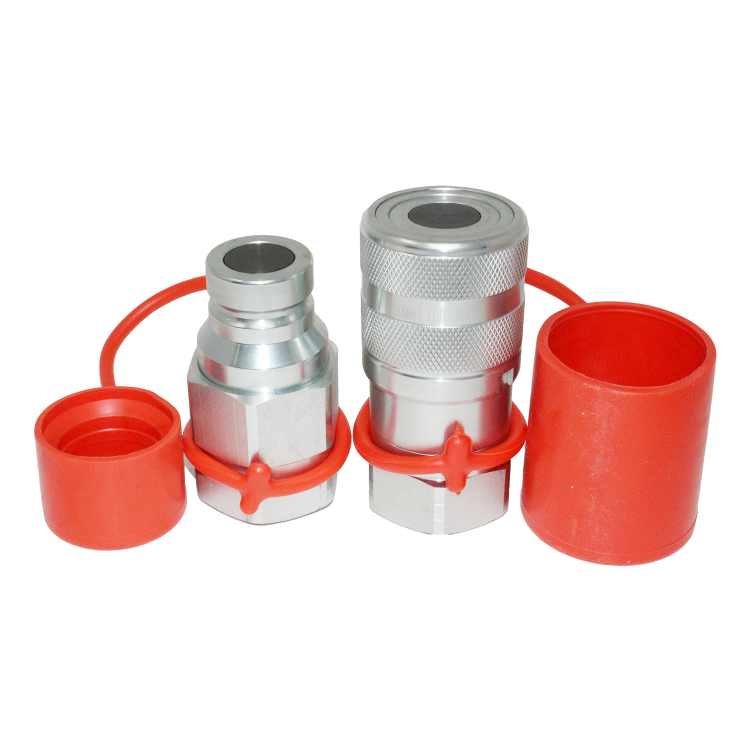 Flat face hydraulic quick connect coupler set sae