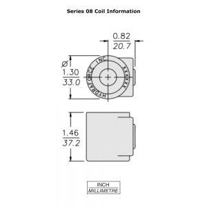 HydraForce 6303012 Solenoid Valve Coil, Stud Connector, 12v DC, 08 Series