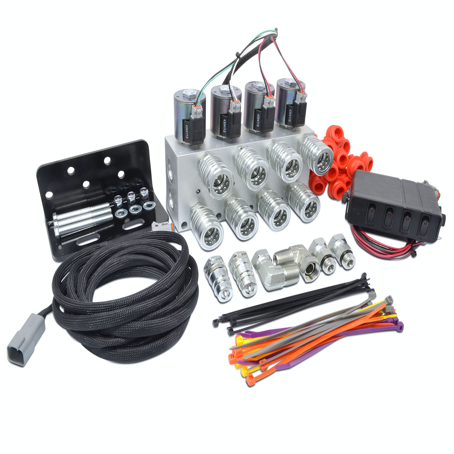 Hydraulic Multiplier Kit, 4 Circuit Selector Valve Including Couplers and  Switch Box Control