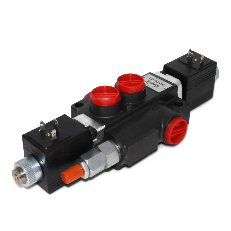 Hydraulic monoblock solenoid control valve spool