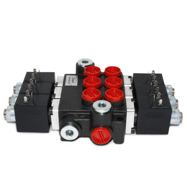 Hydraulic Monoblock Solenoid Control Valve, 3 Spool, 13 GPM, 12V DC