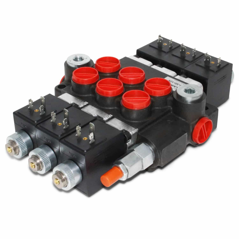 Hydraulic monoblock solenoid control valve 3 spool 13 for Hydraulic motor control valve