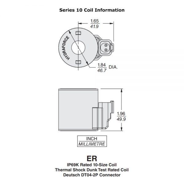 Hydraforce 4303712 Solenoid Valve Coil, Deutsch Connector, 12V DC, 10 Series