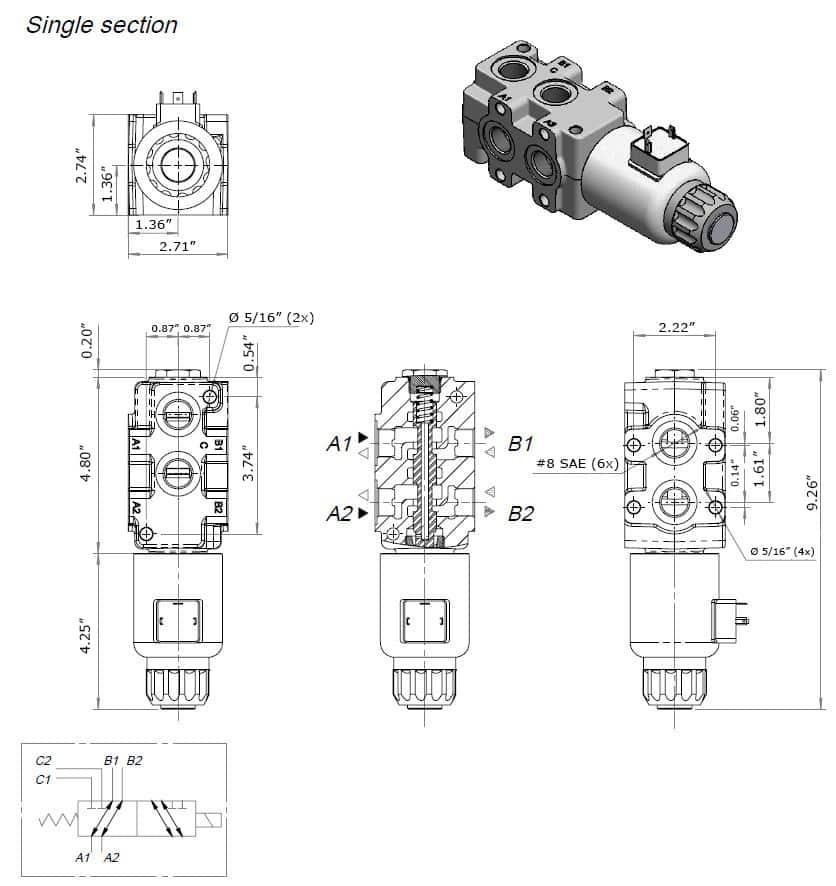 hydraulic solenoid selector  diverter valve  24 gpm  12v dc