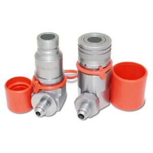 90 Degree Flat Face Hydraulic Quick Connect Coupler Set, 3/8″ JIC Male Thread