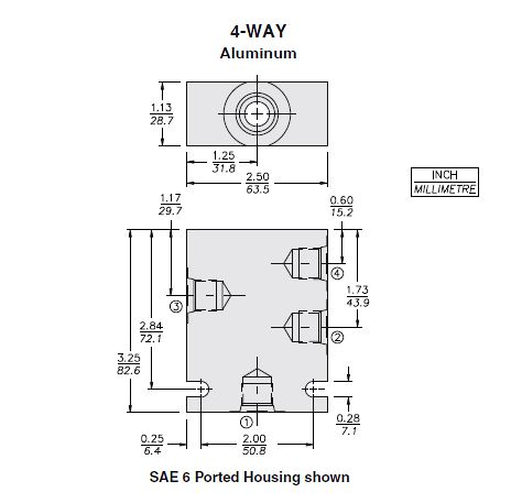 Hydraforce 7024860 Valve Housing, 4-Way, Size 08, #6 SAE Ports