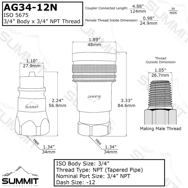 "AG 3/4"" Body 3/4"" NPT Thread ISO 5675"