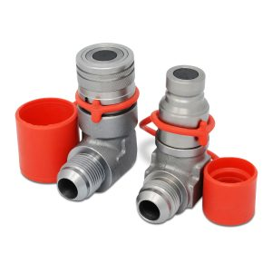 90 Degree Female Flat Face Hydraulic Quick Connect Coupler Set, 3/4″ JIC Male Thread