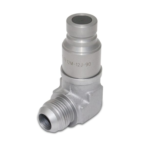 90 Degree Flat Face Hydraulic Quick Connect Coupler Set, 3/4″ JIC Male Thread