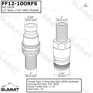 Flat Face Hydraulic Quick Connect Coupler Set, 5/8 ORFS Bulkhead Mount