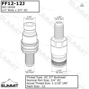 Flat Face Hydraulic Quick Connect Coupler Set, #12 JIC Bulkhead Mount