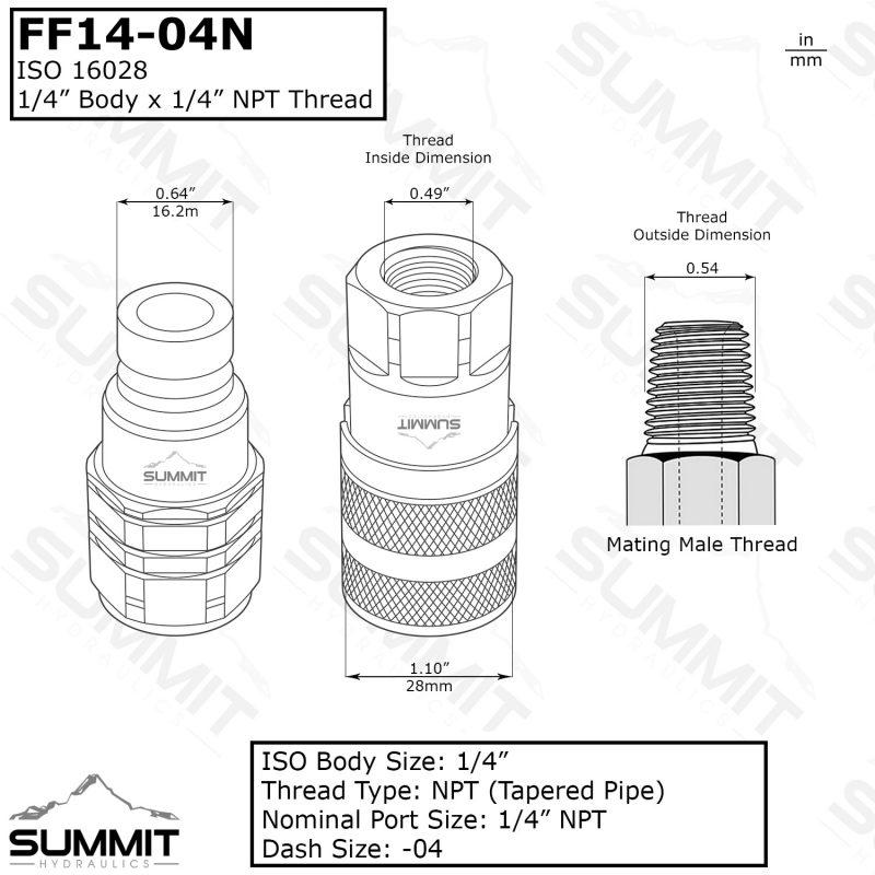 """1//4/"""" id x M16X1.5 str fem cône//o-ring tuyau hydraulique insère /& HMFL 04-M16CF"""