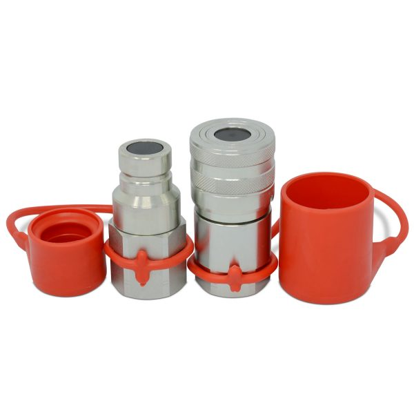 "3/4"" Flat Face High Flow Hydraulic Quick Connect Coupler Set, 1"" NPT Thread"