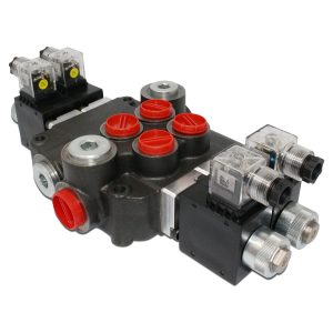 Hydraulic Monoblock Solenoid Directional Control Valve, 2 Spool, 21 GPM