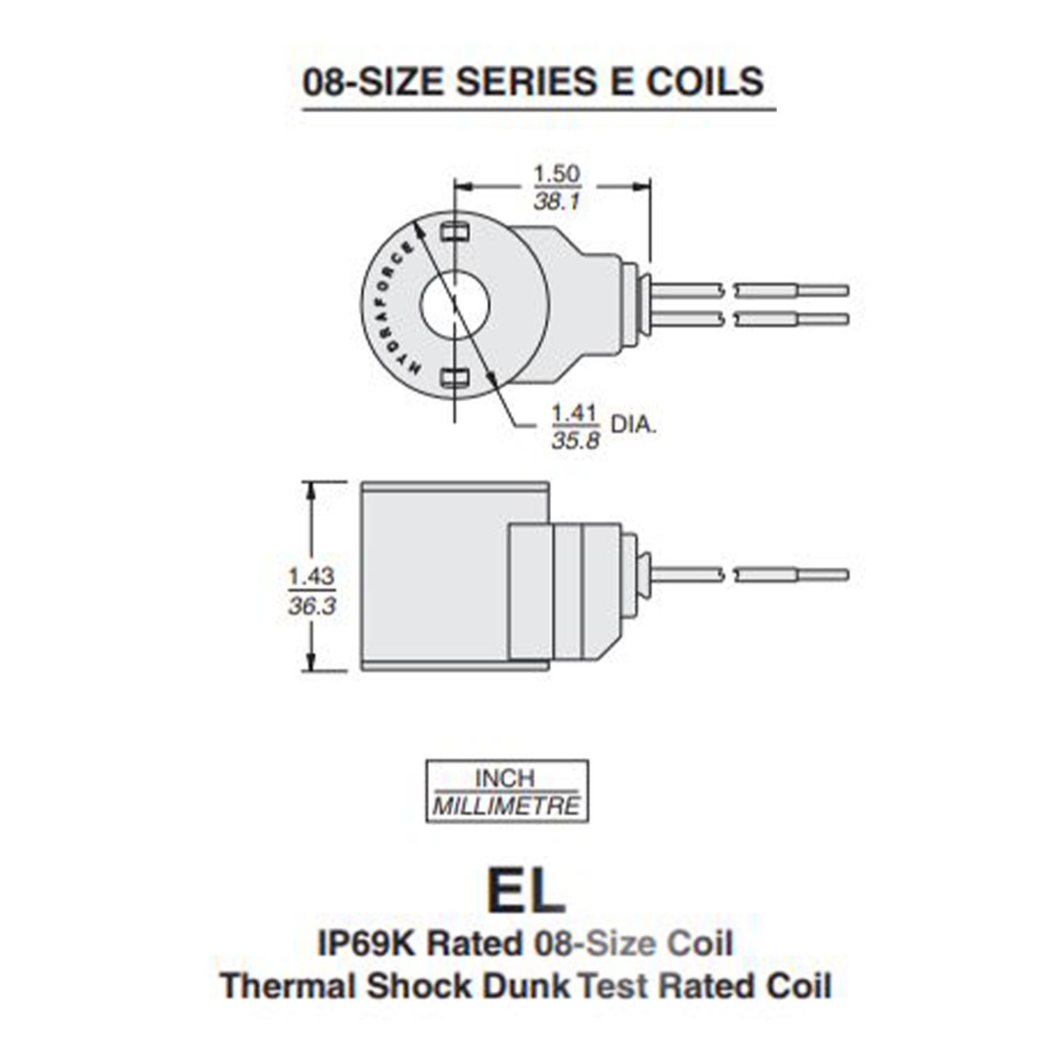 HydraForce 4305112 Solenoid Valve Coil, Dual Wire Leads, 12v DC | Hyd 12v Single Coil Wiring Diagram |  | Summit Hydraulics