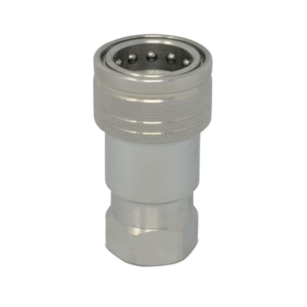 3/8″ ISO 7241-B Quick Disconnect Hydraulic Female Coupler, 1/2″ SAE Thread