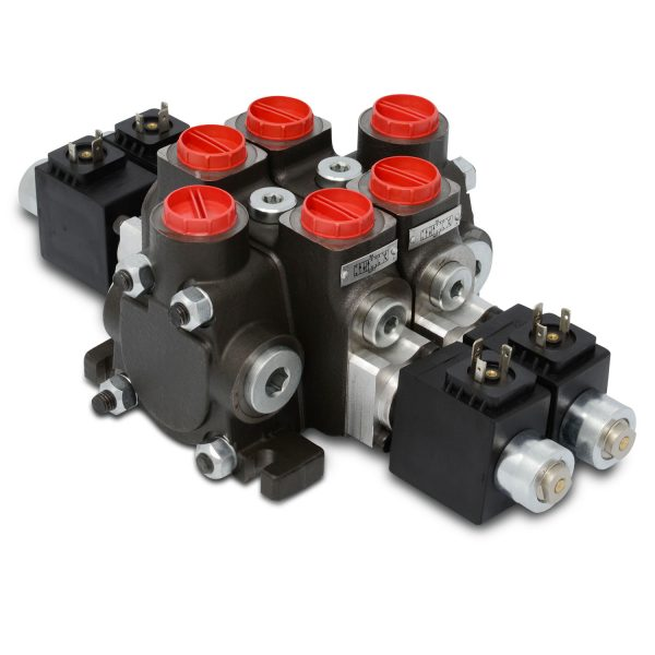 Hydraulic Solenoid Directional Control Valve, Double Acting, 2 Spool, 27 GPM, 12v
