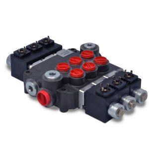 Hydraulic Monoblock Solenoid Directional Control Valve, 3 Spool, 21 GPM, 12V DC