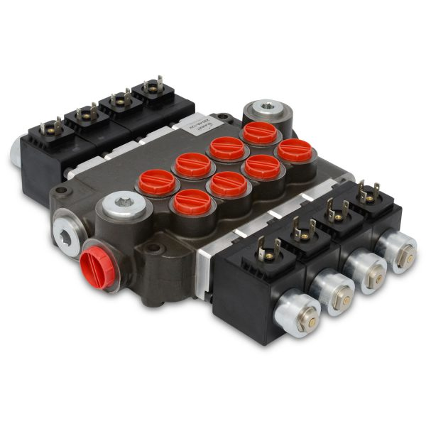 Hydraulic Monoblock Solenoid Directional Control Valve, 4 Spool, 21 GPM, 12V DC