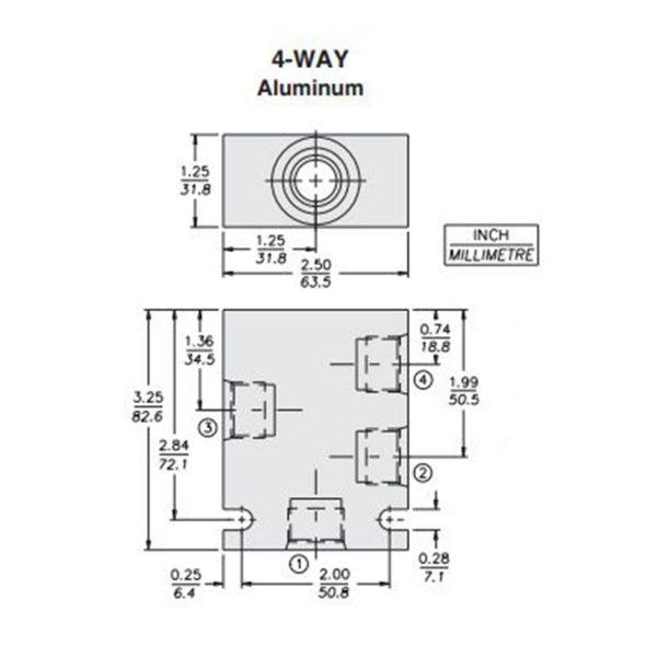 Hydraforce 7024480 Manifold Valve Body Housing, 4-Way, #8 SAE Ports, Size 10