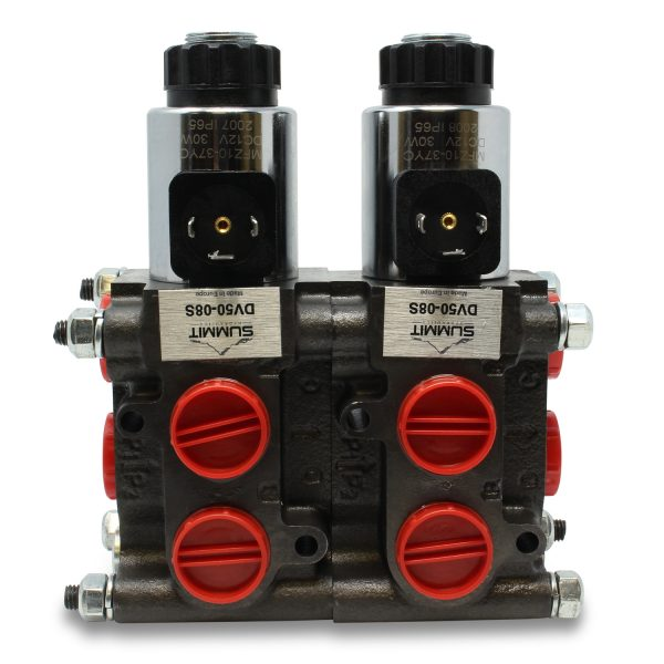 Front view of installed 2 Valve DV50-08S Stacking Kit