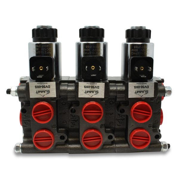 Front view of installed 3 Valve DV50-08S Stacking Kit