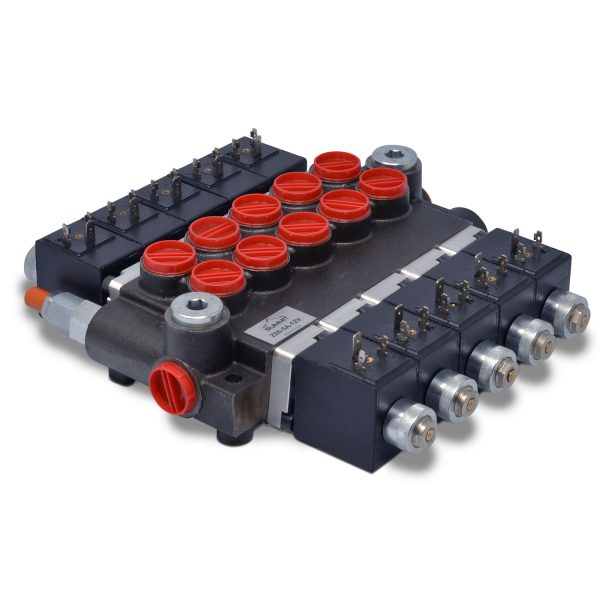 Hydraulic Monoblock Solenoid Directional Control Valve, 5 Spool, 13 GPM, 12V DC