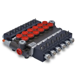 Hydraulic Monoblock Solenoid Directional Control Valve, 6 Spool, 13 GPM, 12V DC