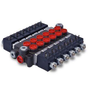 Hydraulic Monoblock Solenoid Directional Control Valve, 6 Spool, 13 GPM, 12V DC