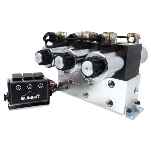 Electric Hydraulic Double Acting Directional Control Valve, 3 Spool, 25 GPM.