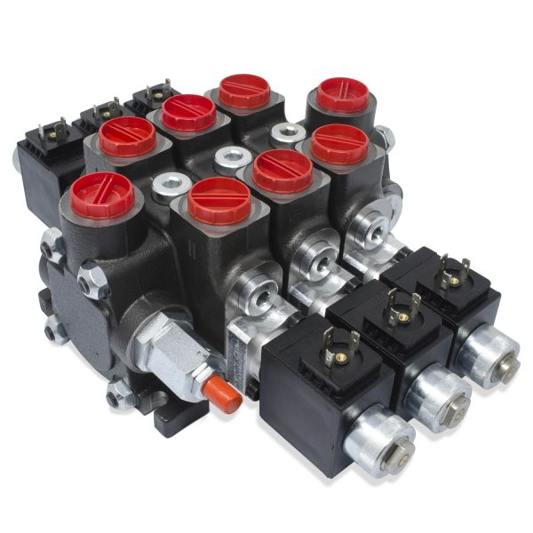 Hydraulic Solenoid Directional Control Valve, Double Acting, 3 Spool, 27 GPM, 12v
