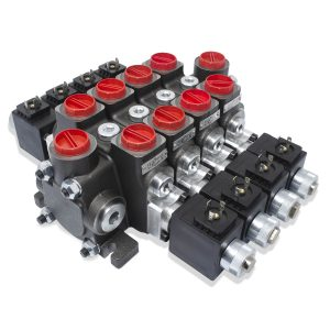 Hydraulic Solenoid Directional Control Valve, Double Acting, 4 Spool, 27 GPM, 12v